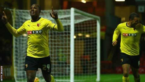 Odion Ighalo celebrates scoring against Rotherham