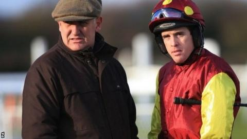Jason Maguire (right) with trainer Donald McCain
