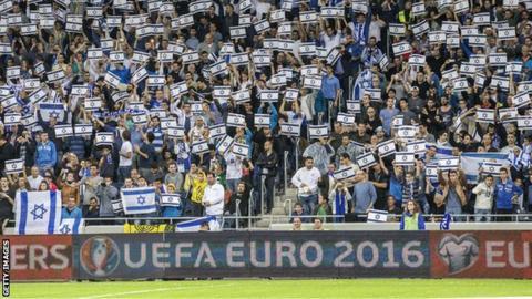 Israel fans at the Sammy Ofar Stadium