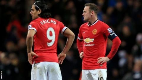 Radamel Falcao (l) and Wayne Rooney