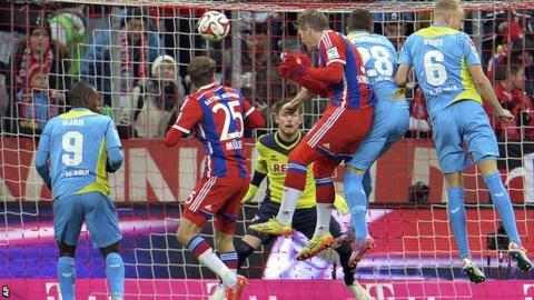 Bastian Schweinsteiger scoring for Bayern Munich