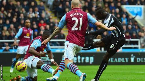 Papiss Cisse scores Newcastle's opening goal against Aston Villa
