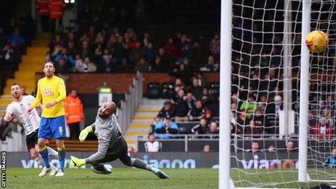 Nikolay Bodurov gives Fulham the lead against Derby County at Craven Cottage
