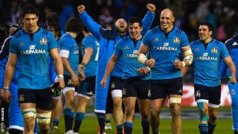 Italy outscored Scotland three tries to one at Murrayfield