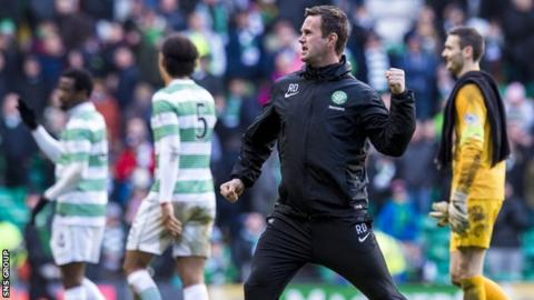 Celtic manager Ronny Deila celebrates after the 4-0 win