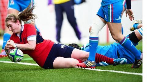 Jade Konkel scores for Scotland women against Italy at Broadwood.