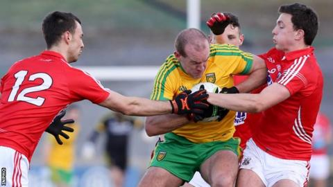Neil Gallagher in action in Donegal's win over Cork at Ballyshannon