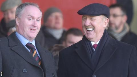 Motherwell vice-chairman Derek Weir and majority shareholder Les Hutchison