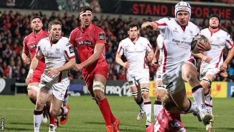 Luke Marshall on the way to scoring an Ulster try in last Friday's win over the Scarlets