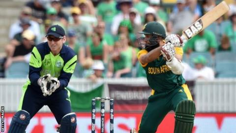 Ireland wicket-keeper Gary Wilson sees Hashim Amla hit another boundary in Canberra on Tuesday