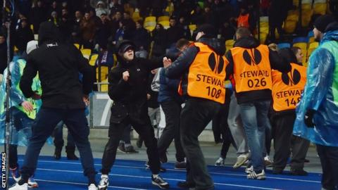 Crowd trouble between Dynamo Kiev and Guingamp.