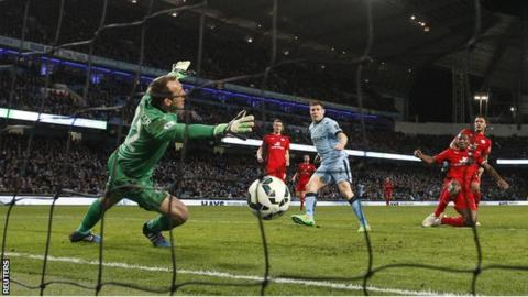 James Milner scores for Manchester City against Leicester City