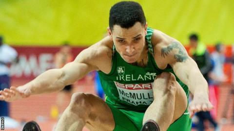 Adam McMullen competing for Ireland at the European Indoor Championships