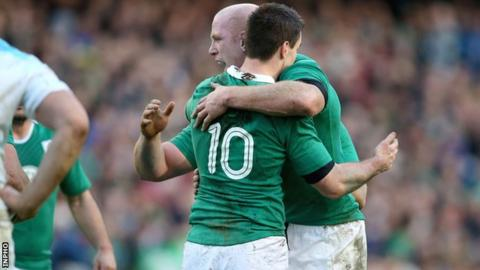 Paul O'Connell and Johnny Sexton celebrate Ireland's win over England