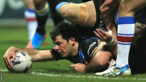 St Helens veteran Paul Wellens scores the first try of the night at Belle Vue
