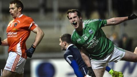 Ruairi Corrigan celebrates after his brilliant goal against Armagh
