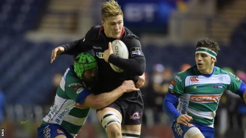 Dave Denton carries for Edinburgh