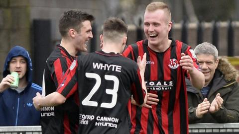 Jordan Owens scored twice as Premiership leaders beat Institute 3-1 at Seaview