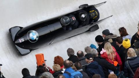 Britain's bobsleigh team competing at the World Championships