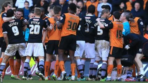 Wolves and Watford players have a frank exchange of views at Molineux