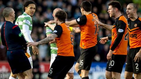 Two Dundee United and one Celtic player were sent off in Sunday's 1-1 Scottish Cup draw.