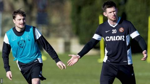 Paul Paton and Calum Butcher train with Dundee United