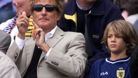 Rod Stewart with son Liam watching Scotland's football team at Hampden Park in 2001