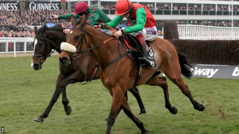 Dodging Bullets wins the Queen Mother Champion Chase at Cheltenham