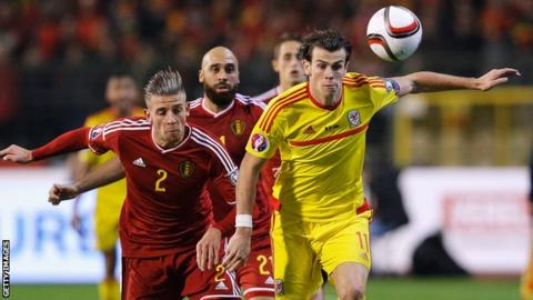 Gareth Bale in action for Wales against Belgium