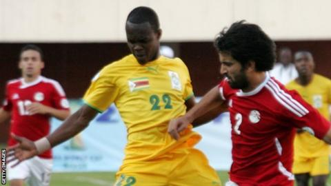 Zimbabwe in action against Egypt