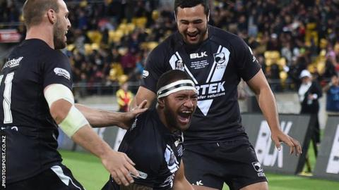 New Zealand celebrate a Four Nations try against Australia