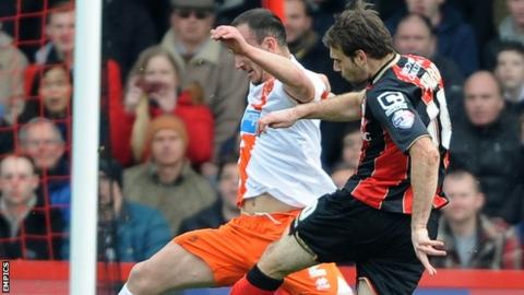 Brett Pitman smashes home his first goal for Bournemouth against Blackpool