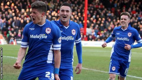 Alex Revell celebrates after scoring Cardiff's winner at Brentford