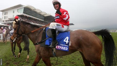 Coneygree and jockey Nico de Boinville
