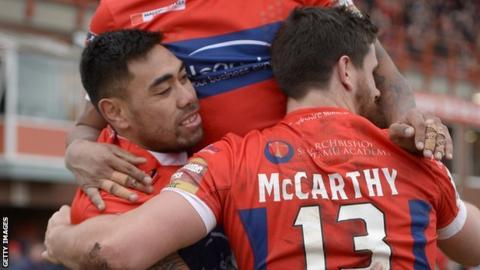 Hull KR's Ken Sio celebrates his first try