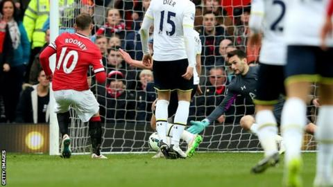 Wayne Rooney scores Man Utd's third goal