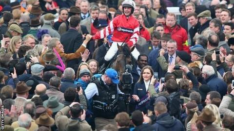 Coneygree and jockey Nico de Boinville after Cheltenham Gold Cup win