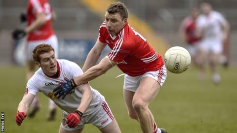 Tyrone's Peter Harte battles with Cork's Brian Hurley at Healy Park