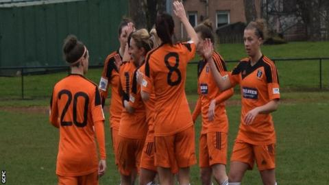 Glasgow City players celebrate Abbi Grant's goal.