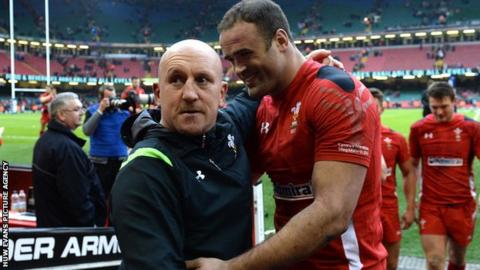 Shaun Edwards with Jamie Roberts after Wales' 23-16 win over Ireland.