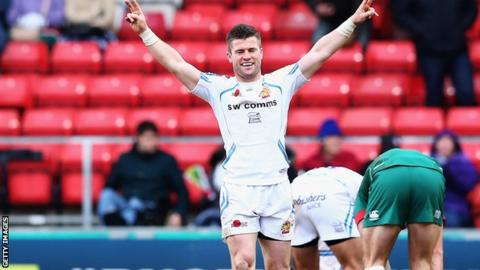Ceri Sweeney celebrates helping Exeter to their second successive LV= Cup final