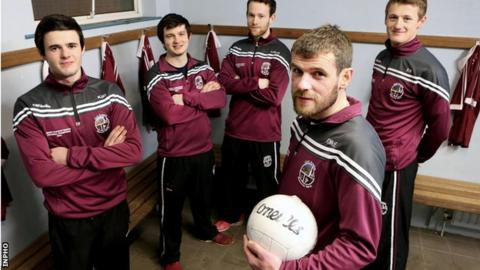 Slaughtneil players Karl McKaigue, Cormac O'Doherty, Anton McMullan, Francis McEldowney and Brendan Rodgers prepare for the All-Ireland final