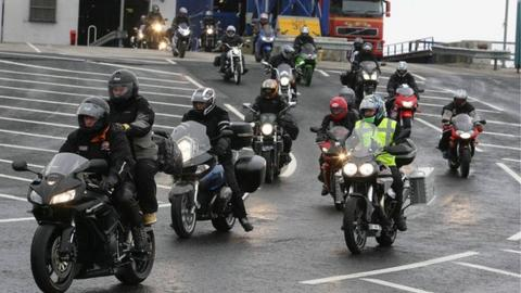 Bikers arriving from Scotland for the North West 200 international road races
