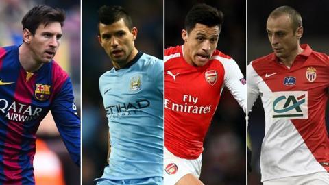 Lionel Messi, Sergio Aguero, Alexis Sanchez, Dimitar Berbatov