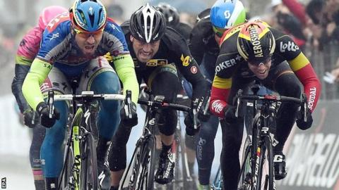 Slovakia's Peter Sagan of Tinkoff-Saxo on his way to winning the sixth stage of the Tirreno-Adriatico