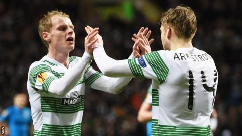 Gary Mackay-Steven and Stuart Armstrong celebrate with Celtic