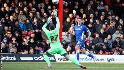 Alex Revell scores for Cardiff at Brentford