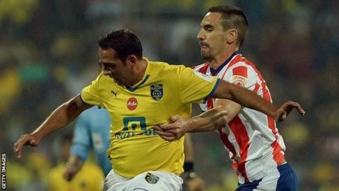 Michael Chopra (left) in action for Kerala Blasters