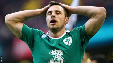 Tommy Bowe shows his frustration after Ireland's defeat by Wales