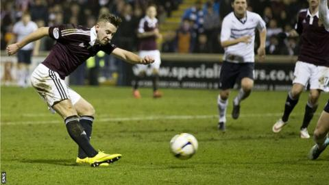 Billy King scores for Hearts against Raith Rovers